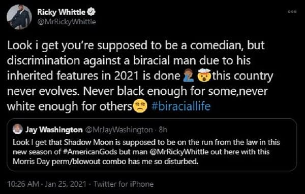 """American Gods Star Ricky Whittle Calls Out Tweet for """"Discrimination"""""""