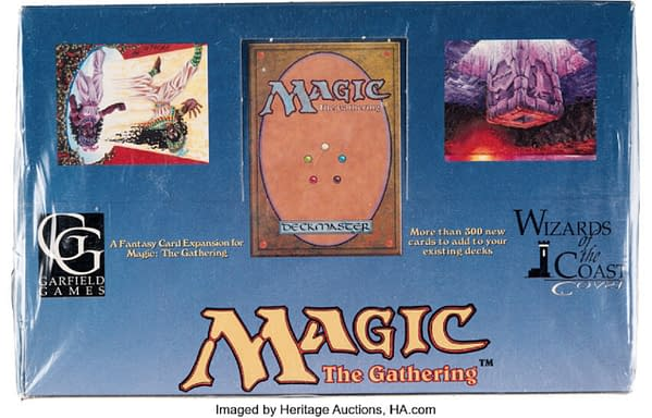 The front cover of the Legends of Magic: The Gathering Booster Box is now up for auction at Heritage Auctions.