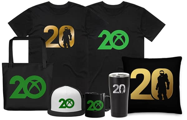 An assortment of 20th anniversary Xbox items from Microsoft, available on the Xbox Gear Shop web store.