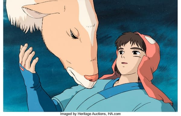 The production cel from Studio Ghibli's film Princess Mononoke (1997), in which Prince Ashitaka is awakened by Yakul, his trusty steed. This production cel is up for auction at Heritage Auctions right now!