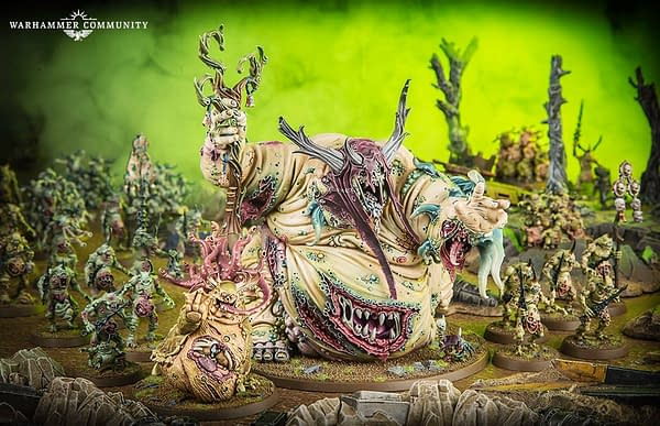 A shot of the Nurgle Chaos Daemons army for Warhammer 40,000 by Games Workshop.