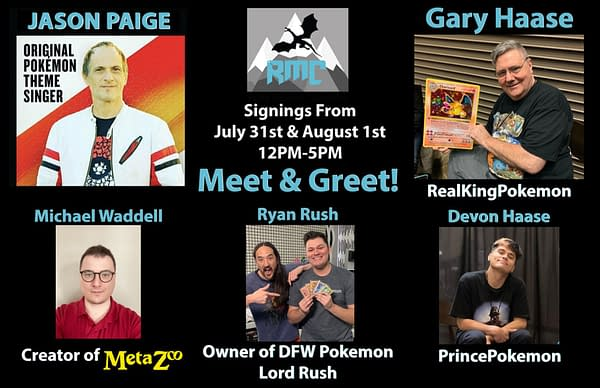 Special guests for this 2-day charity TCG expo include singer Jason Paige, MetaZoo creator Michael Waddell, and many more! Image attributed to Rocky Mountain Collectibles.