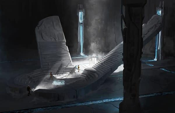 Más arte clave de Homeworld: Revelations, un juego de rol de mesa diseñado por Modiphius Entertainment y modelado a partir del videojuego Homeworld original.