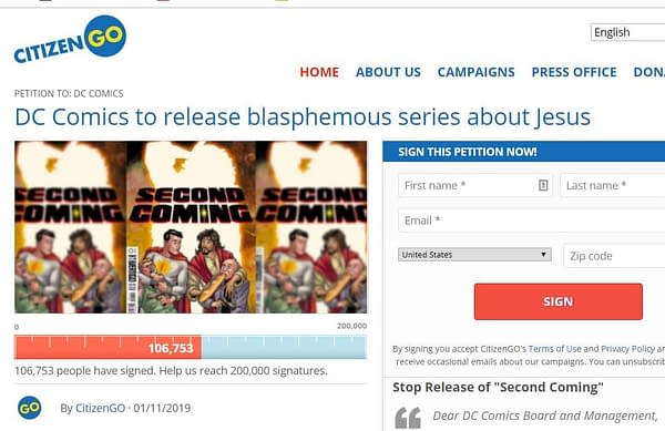 Over 100,000 Sign Petition Against DC Comics Publishing Second Coming