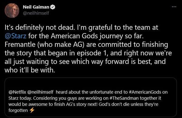 "American Gods: Neil Gaiman Tweets Adaptation ""Definitely Not Dead"""