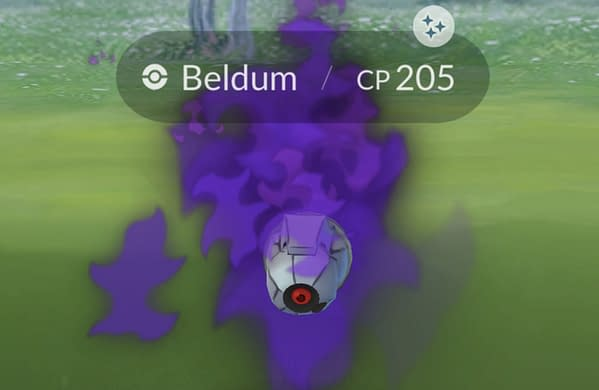 Shiny Shadow Beldum appearing in-game from encounters with Sierra. Credit: Niantic Labs, Inc.