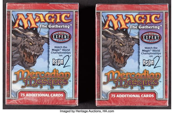 The fronts of the pair of tournament packs from Mercadian Masques, an expansion set for Magic: The Gathering. Currently available at auction on Heritage Auctions' website.