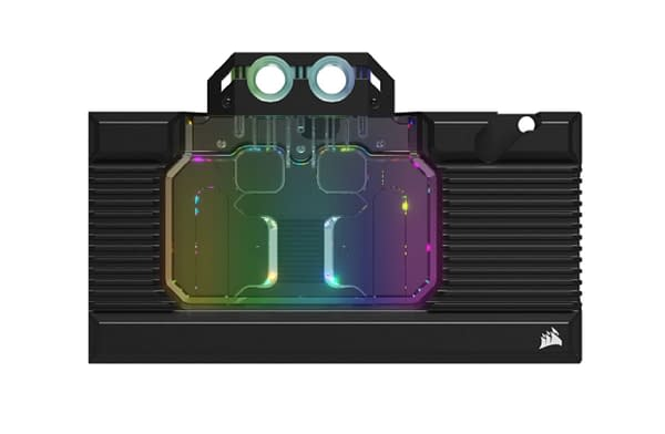 A product shot of the Hydro X Series XG7 RGB 30 Series GPU Water Blocks.