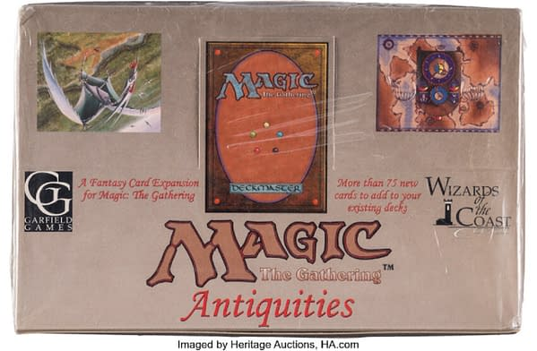 The front of a rare, sealed Antiquities booster box from Magic: The Gathering. Currently available on auction at Heritage Auctions.