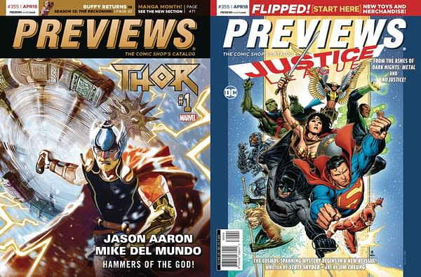 Thor #1 and Justice League #1 on Cover of Next Week's Previews Catalogue