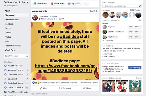 Valiant Bans Mention Of Bad Idea On Social Media Pages