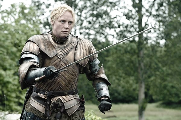Gwendoline Christie as Brienne of Tarth in Game of Thrones. This armor is more practical, no Boob Armor here.