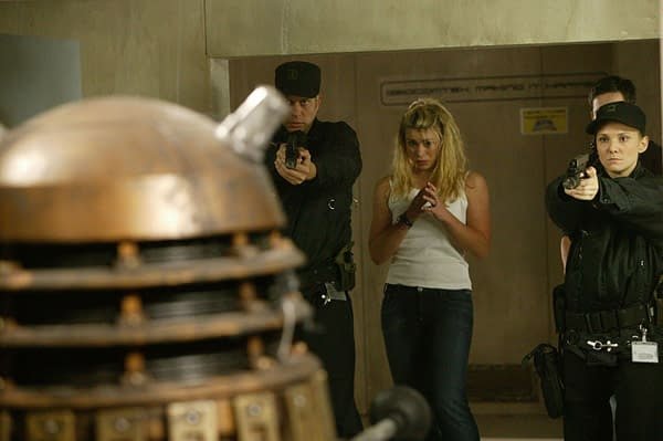Rose confronts a Dalek on Doctor Who, courtesy of BBC Studios.