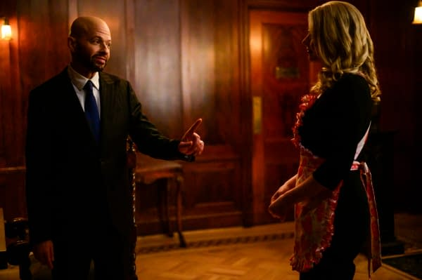 Jon Cryer as Lex Luthor and Andrea Brooks as Eve Tessmacher/Hope in Supergirl, courtesy of The CW.