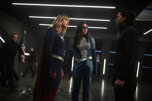 Melissa Benoist as Kara/Supergirl, Nicole Maines as Nia Nal/Dreamer, and Jesse Rath as Brainiac-5 in Supergirl, courtesy of The CW.