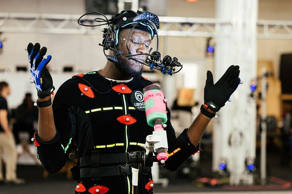 Stormzy in mocap suit shooting his part in the game, courtesy of Ubisoft.