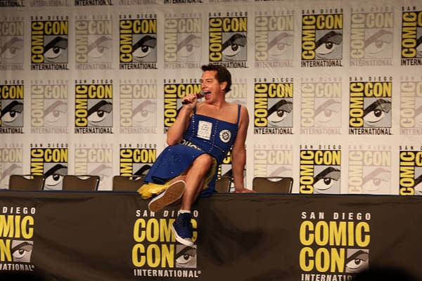 John Barrowman Dances On Stage In A TARDIS Dress At San Diego Comic-Con