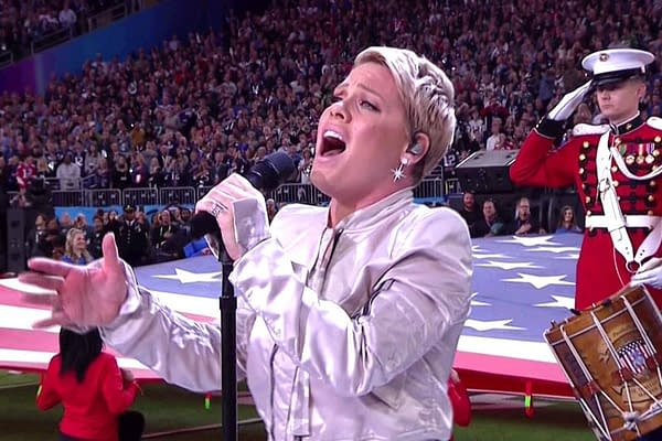 [Super Bowl 52] Watch: Pink (With The Flu) SLAYS The National Anthem