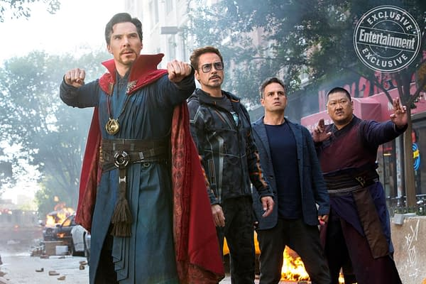 Avengers: Infinity War - Dr. Strange, Tony Stark, Bruce Banner, Wong