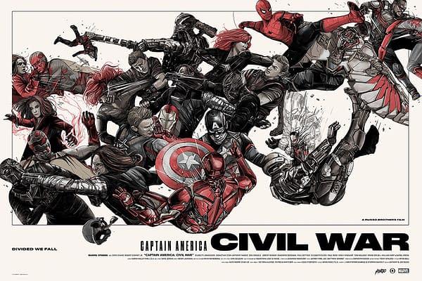 Mondo Marvel Studios 10 Anniversary Civil War Poster 2