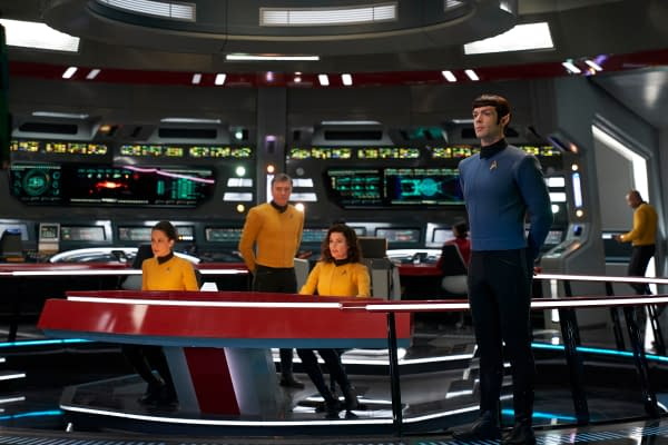 ÒSuch Sweet Sorrow, Part 2Ó -- Ep#214 -- Pictured (l-r): Samora Smallwood as Lt. Amin; Anson Mount as Captain Pike; Rebecca Romijn as Number One; Ethan Peck as Spock of the CBS All Access series STAR TREK: DISCOVERY. Photo Cr: Russ Martin/CBS ©2018 CBS Interactive, Inc. All Rights Reserved.
