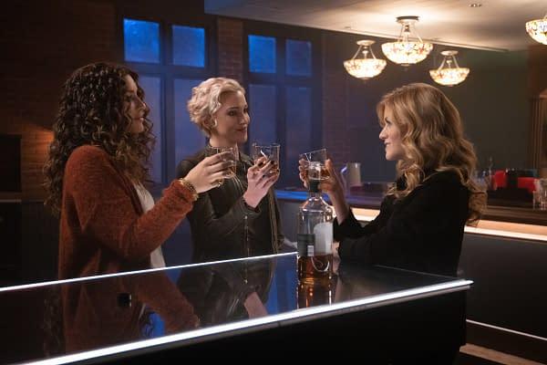 Juliana Harkavy as Dinah Drake/Black Canary, Katie Cassidy as Laurel Lance/Black Siren and Katherine McNamara as Mia in Arrow, courtesy of The CW.