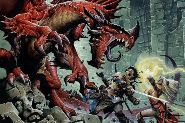 An illustrated action shot from Pathfinder, done by Wayne Reynolds.