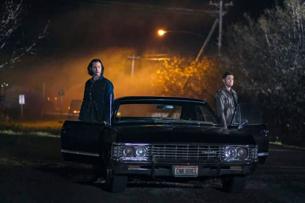 "Supernatural -- ""The Heroes' Journey"" -- Image Number: SN1510a_0363bc.jpg -- Pictured (L-R): Jared Padalecki as Sam and Jensen Ackles as Dean -- Photo: Bettina Strauss/The CW -- © 2020 The CW Network, LLC. All Rights Reserved."
