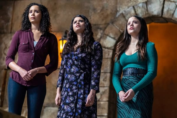 """Charmed -- """"Breaking the Cycle"""" -- Image Number: CMD213B_0336b.jpg -- Pictured (L-R): Madeleine Mantock as Macy, Melonie Diaz as Mel and Sarah Jeffery as Maggie -- Photo: Colin Bentley/The CW -- © 2020 The CW Network, LLC. All Rights Reserved."""