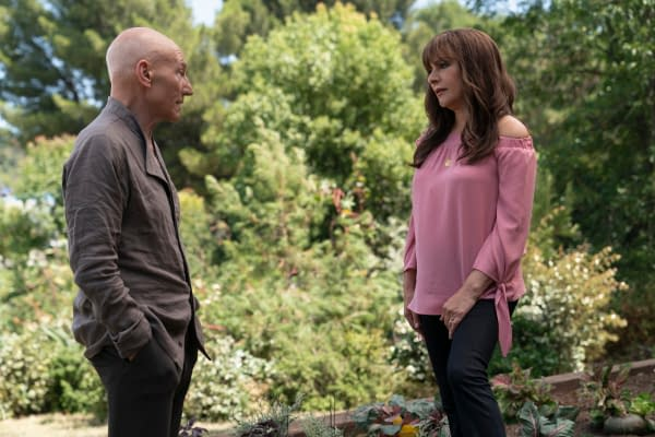 """Nepenthe"" -- Episode #107 -- Pictured (l-r): Sir Patrick Stewart as Jean-Luc Picard; Marina Sirtis as Deanna Troi; of the the CBS All Access series STAR TREK: PICARD. Photo Cr: Aaron Epstein/CBS ©2019 CBS Interactive, Inc. All Rights Reserved."
