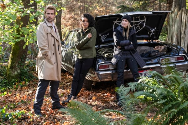 Constantine, Charlie, and Sara Lance aka White Canary stumble upon something a little familiar on DC's Legends of Tomorrow, courtesy of The CW.