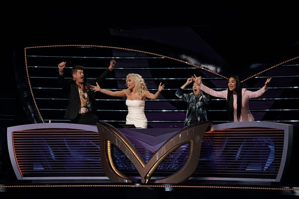 Robin Thicke, Jenny McCarthy, Ken Jeong, and Nicole Scherzinger in The Super Nine Masked Singer Special two-hour episode of The Masked Singer, courtesy of FOX.