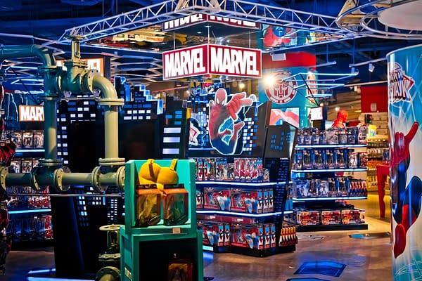 Interior of Marvel toys department in Hamleys store.