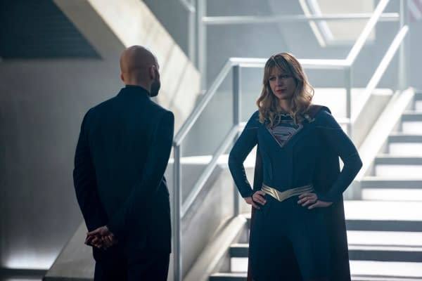 """Supergirl -- """"The Bodyguard"""" -- Image Number: SPG514a_0337r.jpg -- Pictured (L-R): Jon Cryer as Lex Luthor and Melissa Benoist as Kara/Supergirl -- Photo: Diyah Pera/The CW -- © 2020 The CW Network, LLC. All rights reserved."""