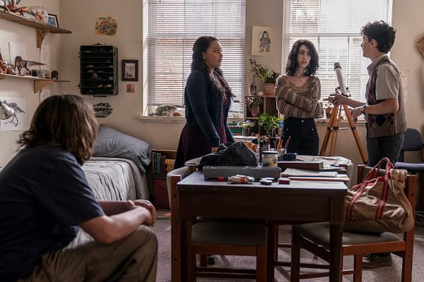 Iris, Hope, Silas, and Elton plan their escape on The Walking Dead: World Beyond, courtesy of AMC.