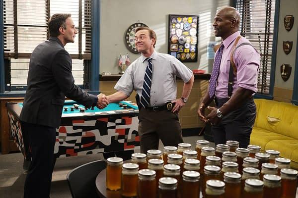 Chris Cordone as Kenneth, Joe Lo Truglio as Boyle, and Terry Crews as Terry in Brooklyn Nine-Nine, courtesy of Jordin Althaus/NBC.