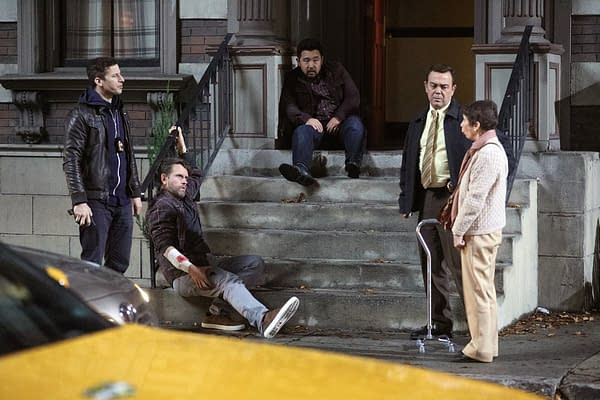 Jake and Boyle try to discover who's behind the blackout and robberies on Brooklyn Nine-Nine, courtesy of NBC.