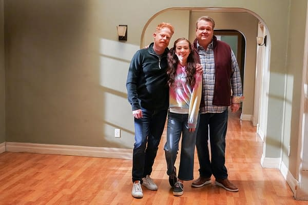 Jesse Tyler Ferguson, Eric Stonestreet, and Aubrey Anderson-Emmons pose behind the scenes during the final season of Modern Family, courtesy of ABC.