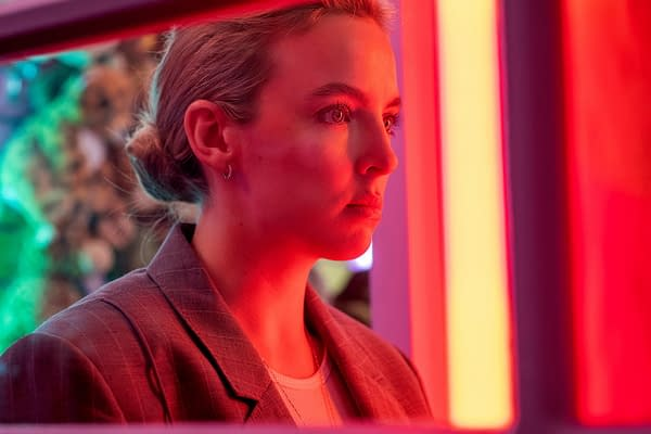 Villanelle works on her present for Eve in Killing Eve, courtesy of BBC America and AMC Networks.