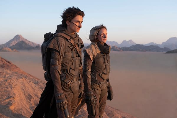 Copyright: © 2020 Warner Bros. Entertainment Inc. All Rights Reserved. Photo Credit: Chiabella James Caption: (L-r) TIMOTHÉE CHALAMET as Paul Atreides and REBECCA FERGUSON as Lady Jessica Atreides in Warner Bros. Pictures and Legendary Pictures' action adventure