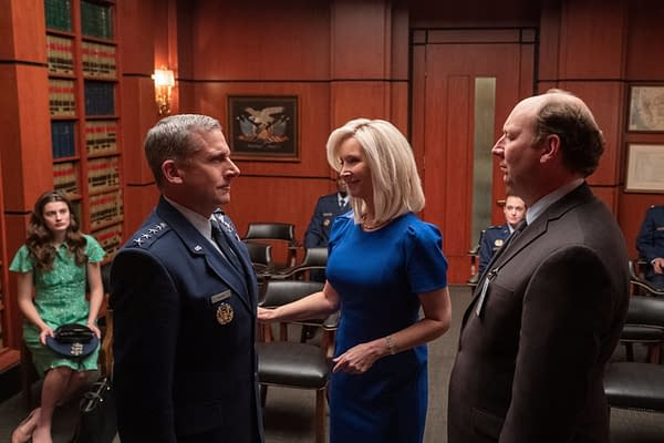 Maggie introduces her husband Gen. Naird to a supporter of the Space Force program, courtesy of Netflix.