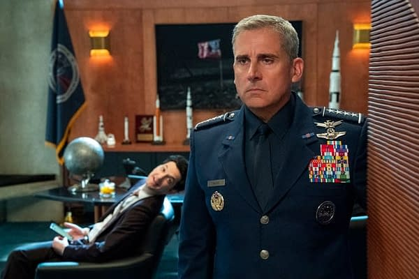 Gen. Naird isn't interested in what Tony has to say in Space Force, courtesy of Netflix.