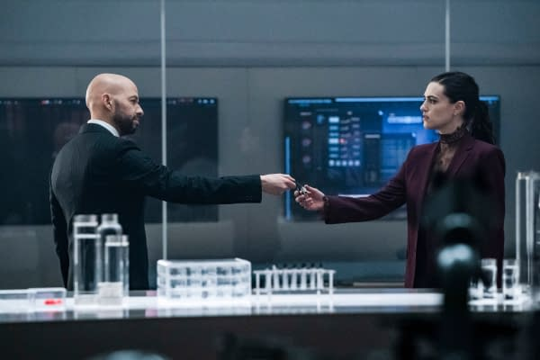 Jon Cryer as Lex Luthor and Katie McGrath as Lena Luthor in Supergirl, courtesy of The CW.