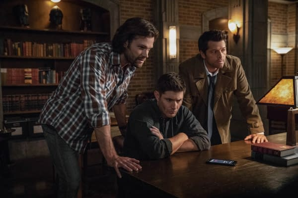 "Supernatural -- ""The Scar"" -- Image Number: SN1403a_0310b.jpg -- Pictured (L-R): Jared Padalecki as Sam, Jensen Ackles as Dean/Michael and Misha Collins as Castiel -- Photo: Jack Rowand/The CW -- © 2018 The CW Network, LLC All Rights Reserved"