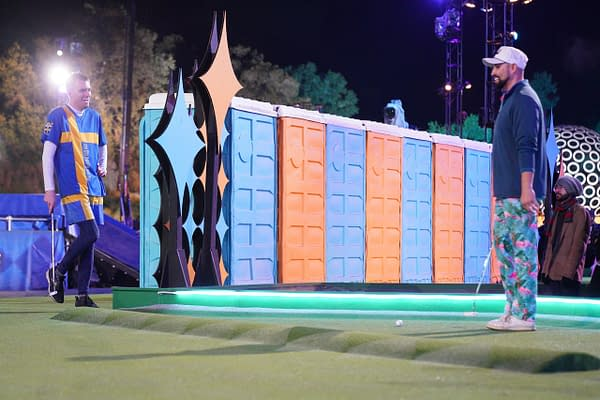 "HOLEY MOLEY - ""Literally Jumping the Shark"" - ""Holey Moley,"" America's favorite mini-golf competition series featuring commentators Rob Riggle and Joe Tessitore, sideline correspondent Jeannie Mai and executive producer Stephen Curry, swings into season two, THURSDAY, MAY 21 (9:00-10:00 p.m. EDT), on ABC. (ABC/Christopher Willard) ERIK GUSTAFSON"