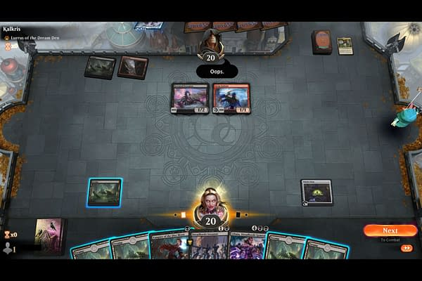 """An example of a player using the """"Oops"""" emote in Magic: The Gathering: Arena. (Screencap credit: Josh Nelson)"""