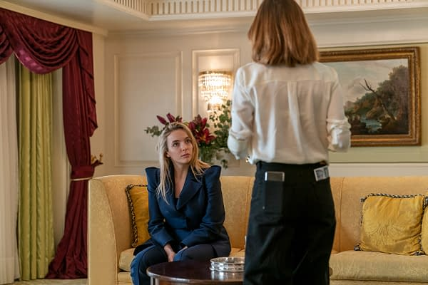 Jodie Comer as Villanelle and Camille Cottin as Helene in Killing Eve, courtesy of AMC Networks.