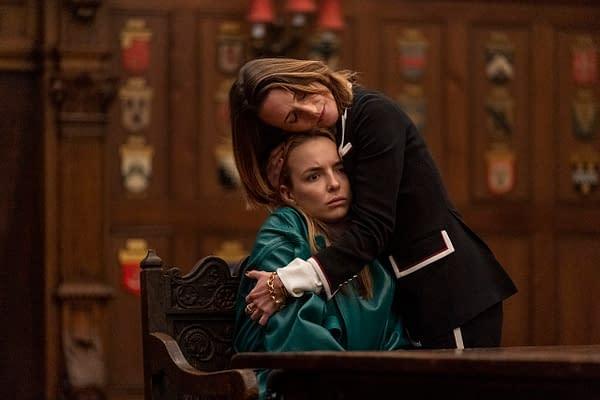 Jodie Comer as Villanelle, Camille Cottin as Helene - Killing Eve _ Season 3, Episode 7 - Photo Credit: Laura Radford/BBCAmerica/Sid Gentle