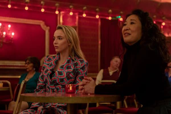 Jodie Comer as Villanelle and Sandra Oh as Eve Polastri in Killing Eve, courtesy BBC America.