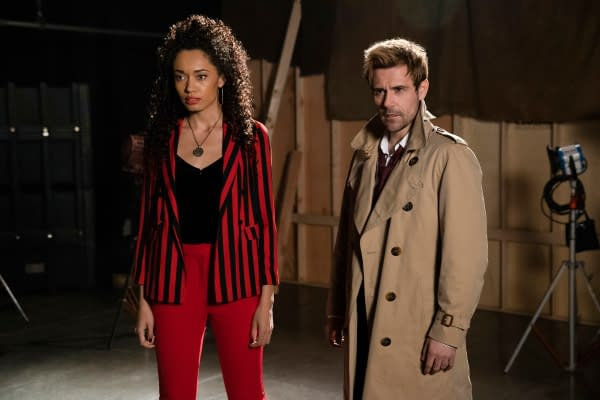Olivia Swan as Astra and Matt Ryan as Constantine in DC's Legends of Tomorrow, courtesy of The CW.